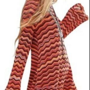 Free People Zig Zag Tunic Sweater Long Sleeve lg